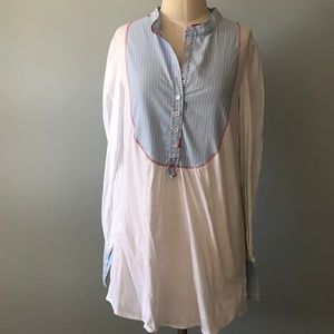 Free People Pinstripe Button Down Tunic Sz L NWOT